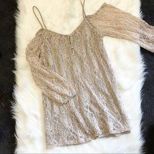 Nasty Gal Cold Shoulder Lace Mini Dress